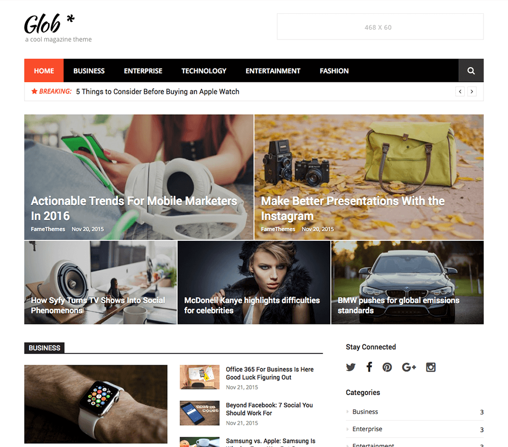 Glob WordPress Theme