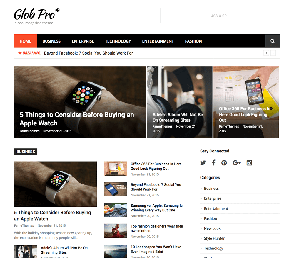Glob Pro WordPress Theme