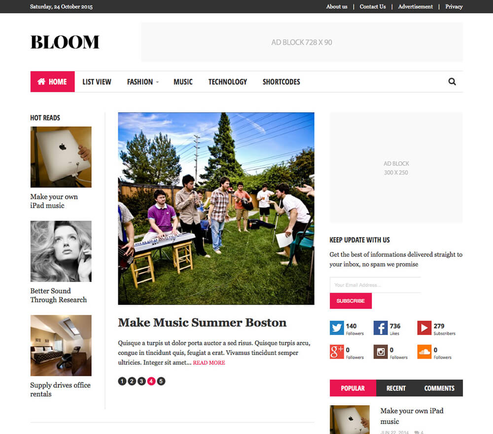Bloom WordPress Theme